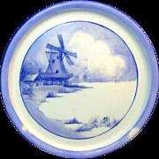 LIMOGES Teapot Trivet w/ Outstanding WINDMILL SCENE by Tressemann & Vogt c.1898