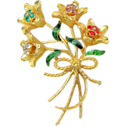 DESIGNER's Realistic Jewel-tone Bouquet of Long Stem Flowers Brooch Rhinestones