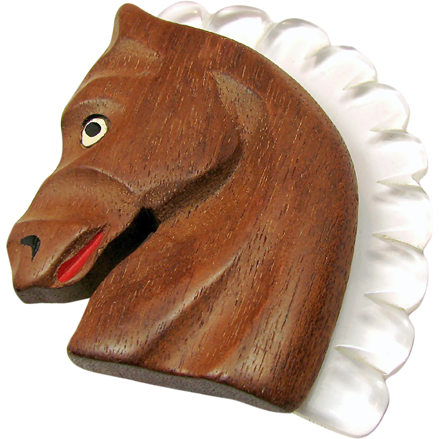 Carved WOOD HORSE Head Brooch w/ Clear White LUCITE Mane c.1940's