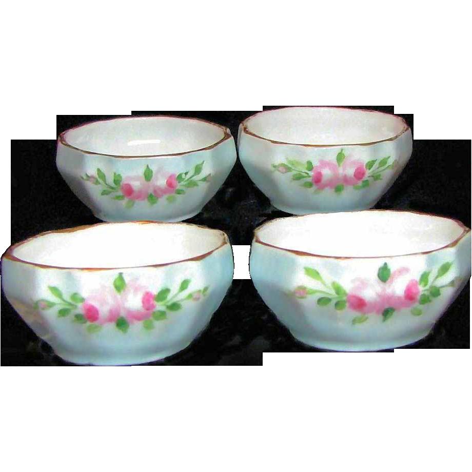 Set 4 SALT DIPS Hand Painted Pink Roses Austrian Porcelain circa 1904
