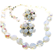 Vintage VOGUE JEWELRY Set Opalescent Glass Necklace w/ Rhinestone Accented Earrings c.1950's
