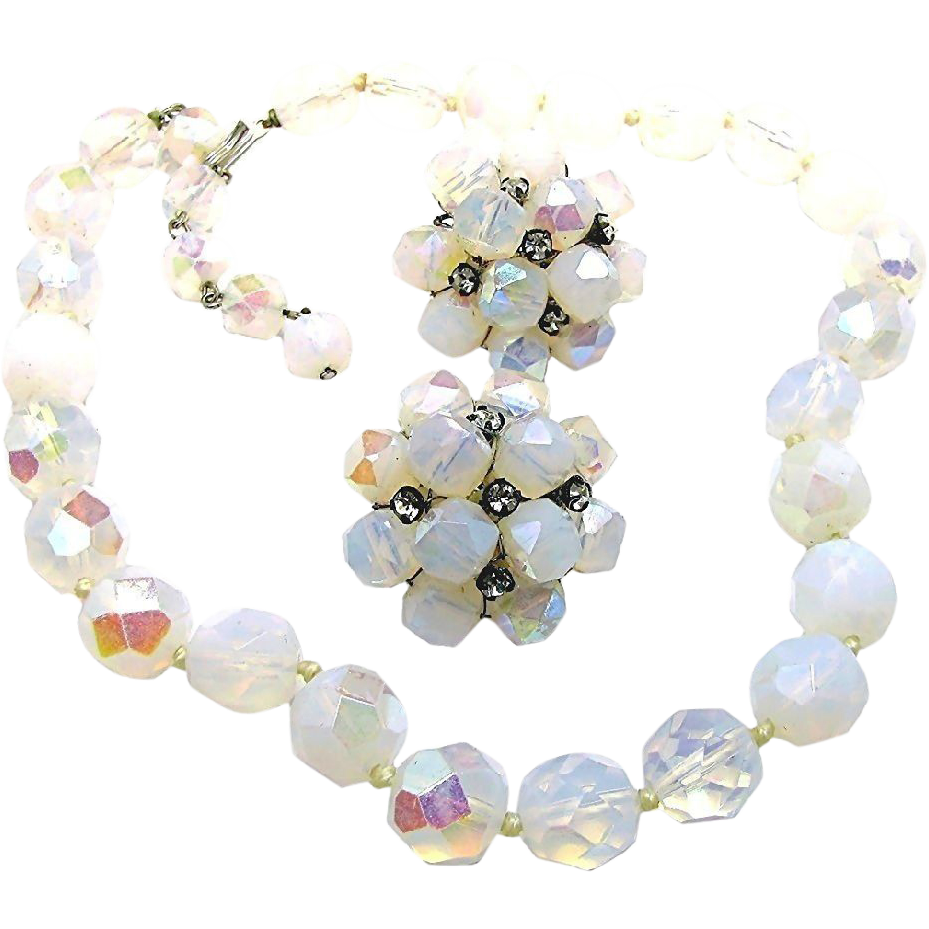 Vintage VOGUE JEWELRY's Set of Opalescent Glass Necklace w/ Rhinestone Accented Earrings c.1950's