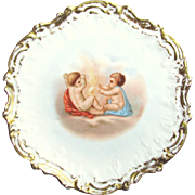 Gilded LIMOGES' CHERUB SCENE Cabinet Plate Coiffe Mold circa 1900