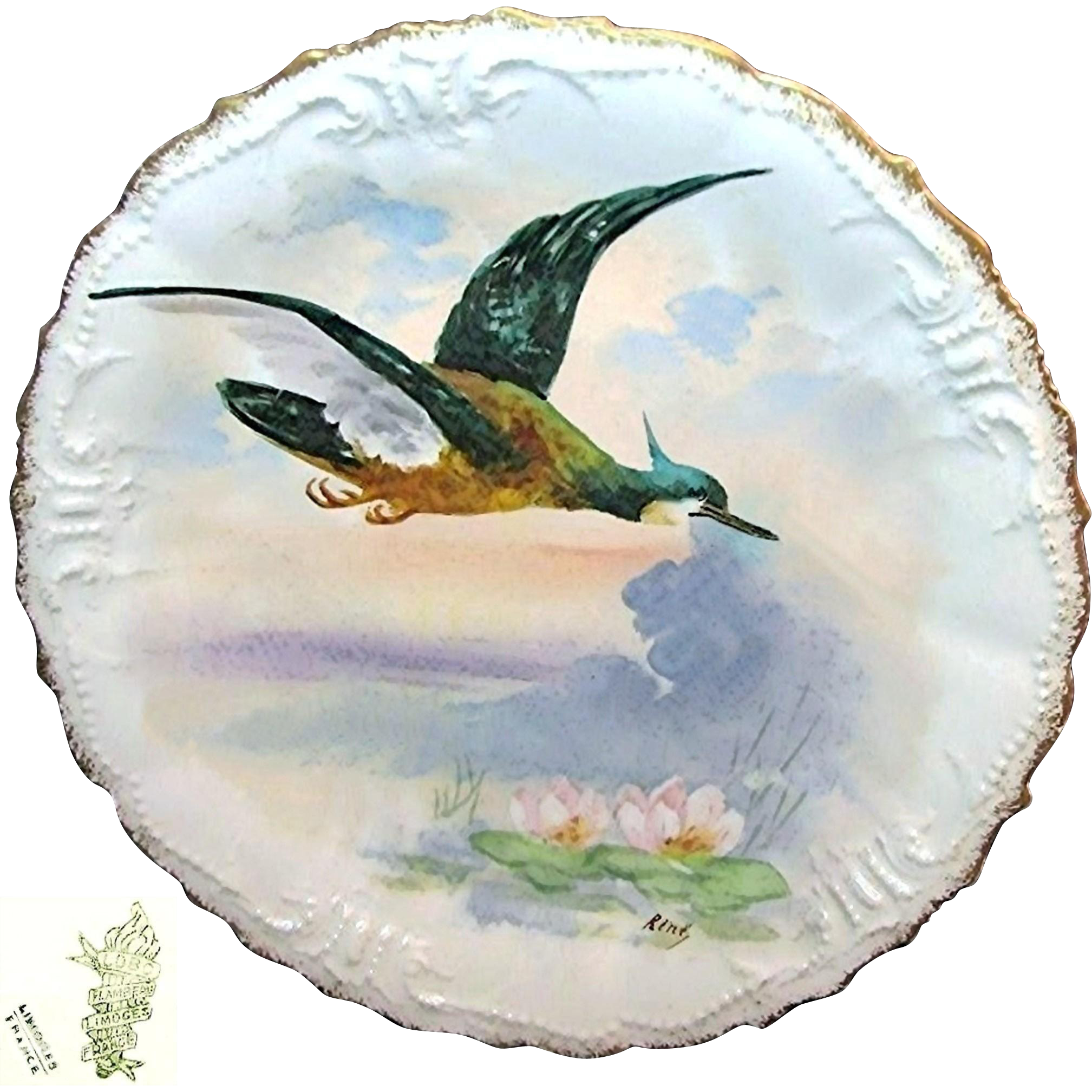Limoges France Art Nouveau Game Bird Plate Hand-painted by Listed Artist René c.1896