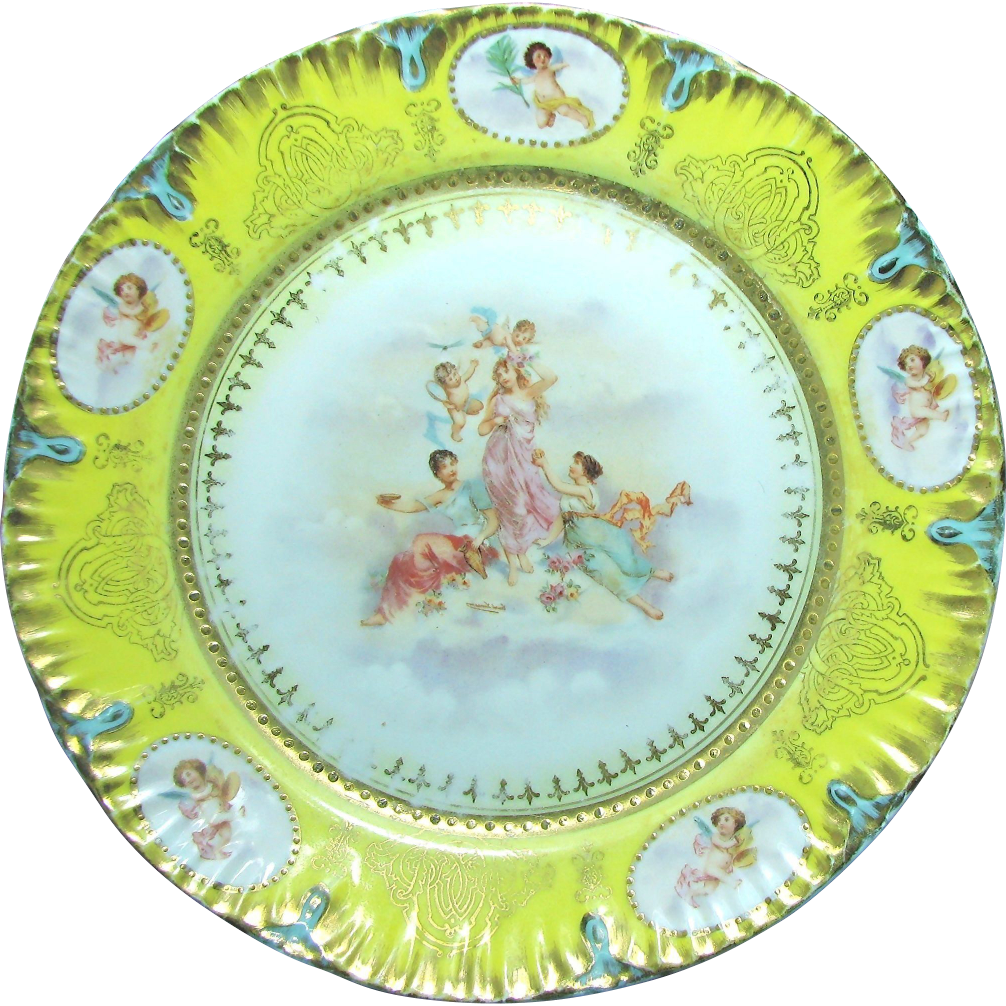 Austrian Large Cabinet Plate of THREE GRACES with CHERUBS c.1900