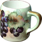 Hand Painted GRAPE CLUSTER MUG / Tankard of German Porcelain c.1900