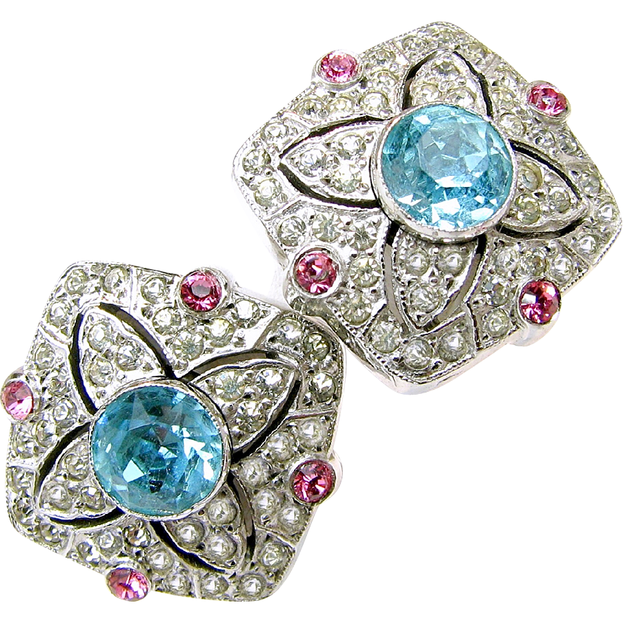 STERLING Earrings w/ Realistic Rhinestone 'Aquamarine, Pink Sapphire, Diamonds'