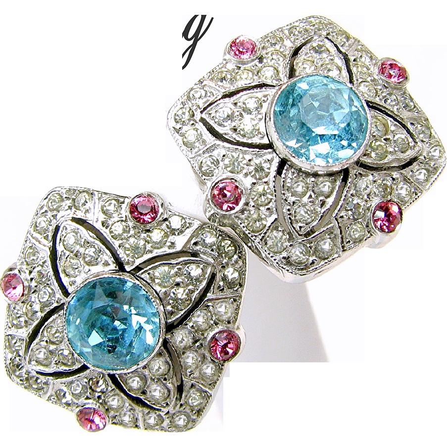STERLING Earrings w/ Realistic Rhinestone 'Aquamarine, Pink Sapphire, Diamonds'