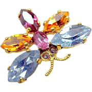 Multiple Color Rhinestone BUTTERFLY Gilded Brass Lapel Brooch