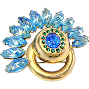 Mid-Century Fan Shaped Brooch w/ Carved Blue Green Rhinestones