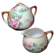 Art Nouveau APPLE BLOSSOM Creamer & Sugar - Austrian Hand Painted Porcelain c.1899-1918
