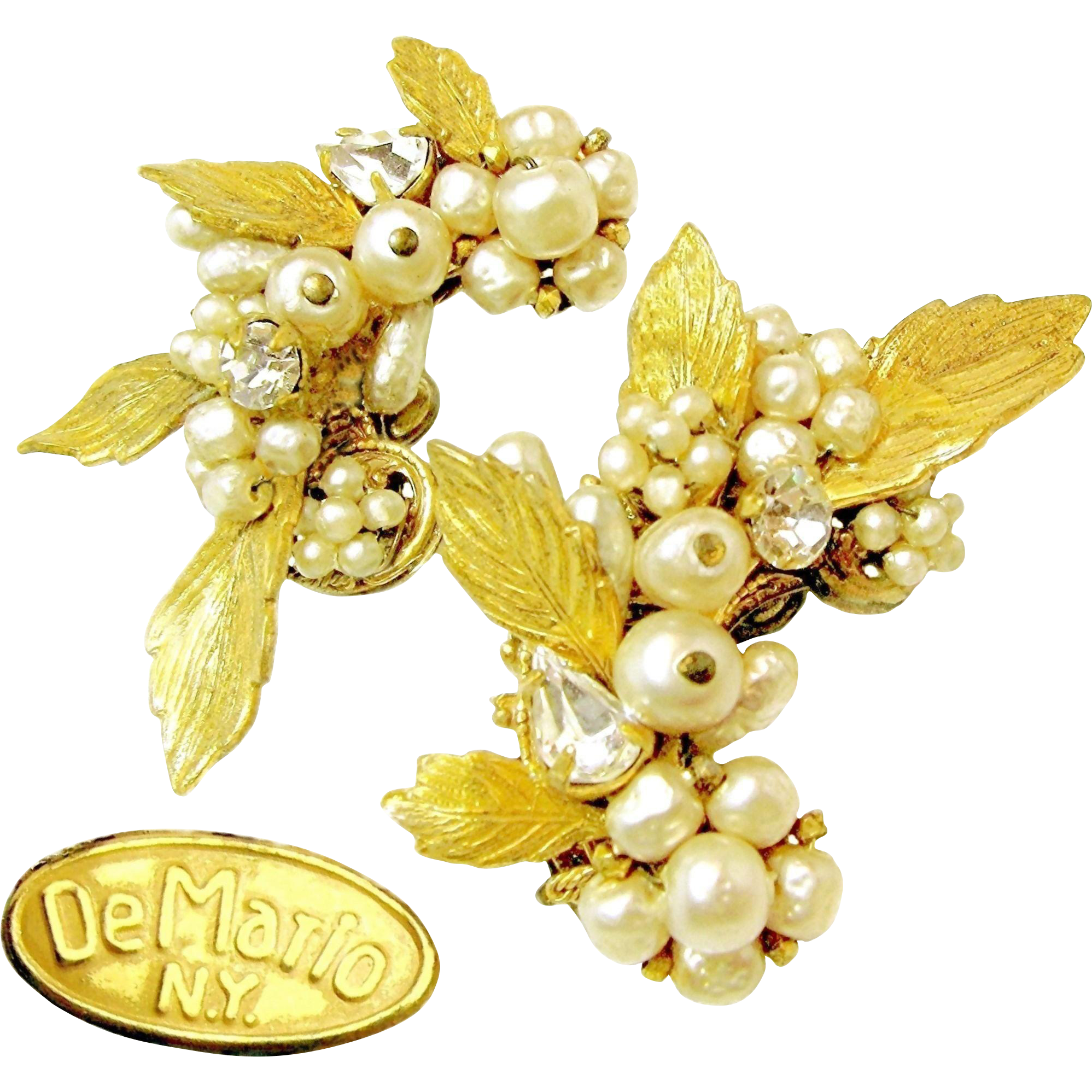 Vintage  DeMARIO Climber EARRINGS w/ Baroque Glass Pearls 'n Clear White Rhinestones c.1945