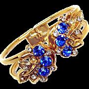 Mid-Century Floral Sapphire Blue Rhinestone Clamper Bracelet
