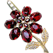 ART DECO Large Red Rhinestone Flower Dress Clip Signed Patent No.1801128 c.1931