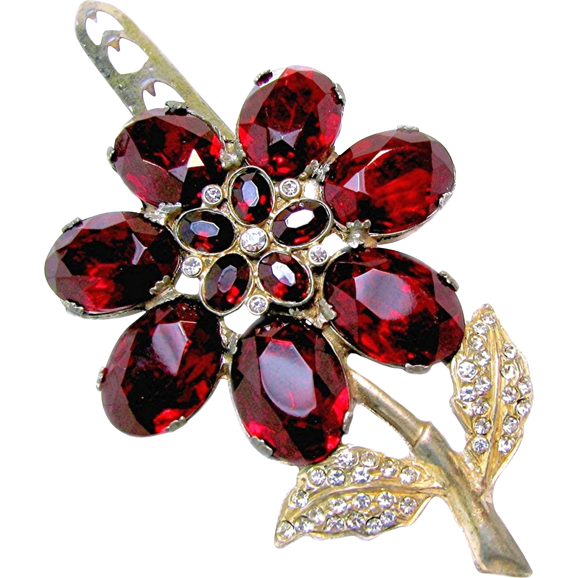 ART DECO Large Red Rhinestone Flower Dress Clip Signed Patent No.1801128 c.1931