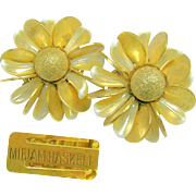 Vintage MIRIAM HASKELL by FRANK HESS Flower Earrings of Pearlized Glass 'n Brass c.Early 1950's