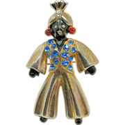 Vintage Full Figure BLACKAMOOR Genie Brooch w/ Colorful Rhinestones c.1940's