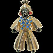 Vintage Full Figure BLACKAMOOR Genie Brooch w/ Colorful Rhinestones c.1940's
