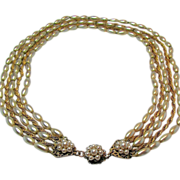 Vintage Classic MIRIAM HASKELL Glass PEARL 5-Strand Necklace w/ Russian Gilt Chain c.1950's