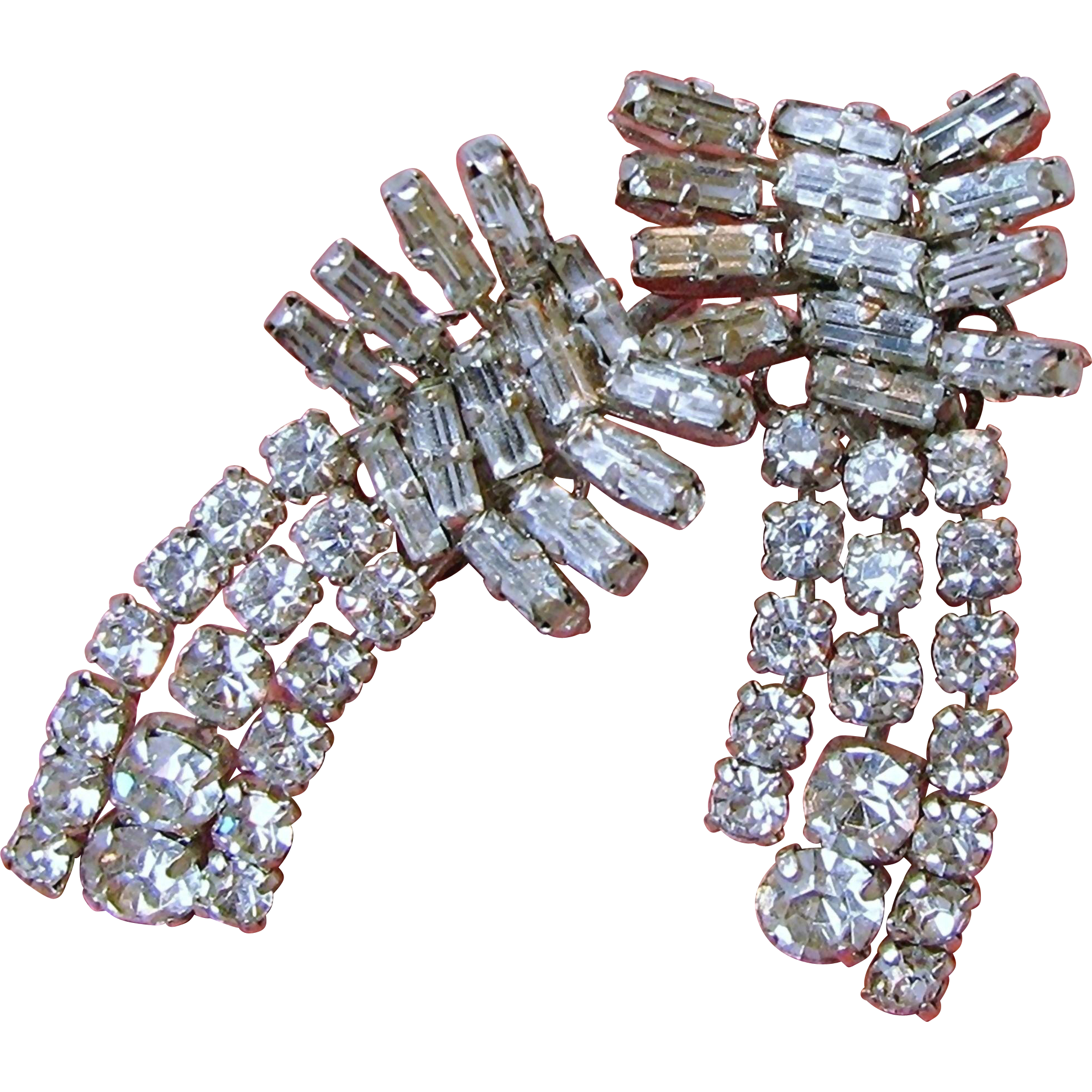 AUSTRIA's CLIMBER Earrings w/ Baguette & Round Clear White Rhinestones Mid-Century