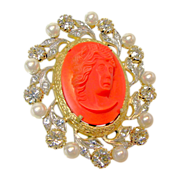 Vintage NETTIE ROSENSTEIN Brooch of Hi-Relief Glass Coral Cameo c.1950