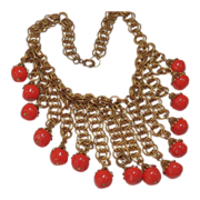 Vintage MIRIAM HASKELL RED CORAL BIB of Art Glass w/ Russian Gilt Chain c.1940's