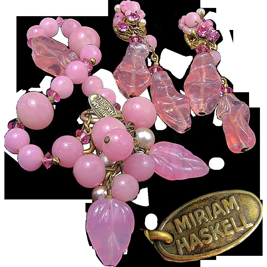Vintage MIRIAM HASKELL Pink Pressed Pâte de Verre 'n Glass Pearl Bracelet w/ Earrings