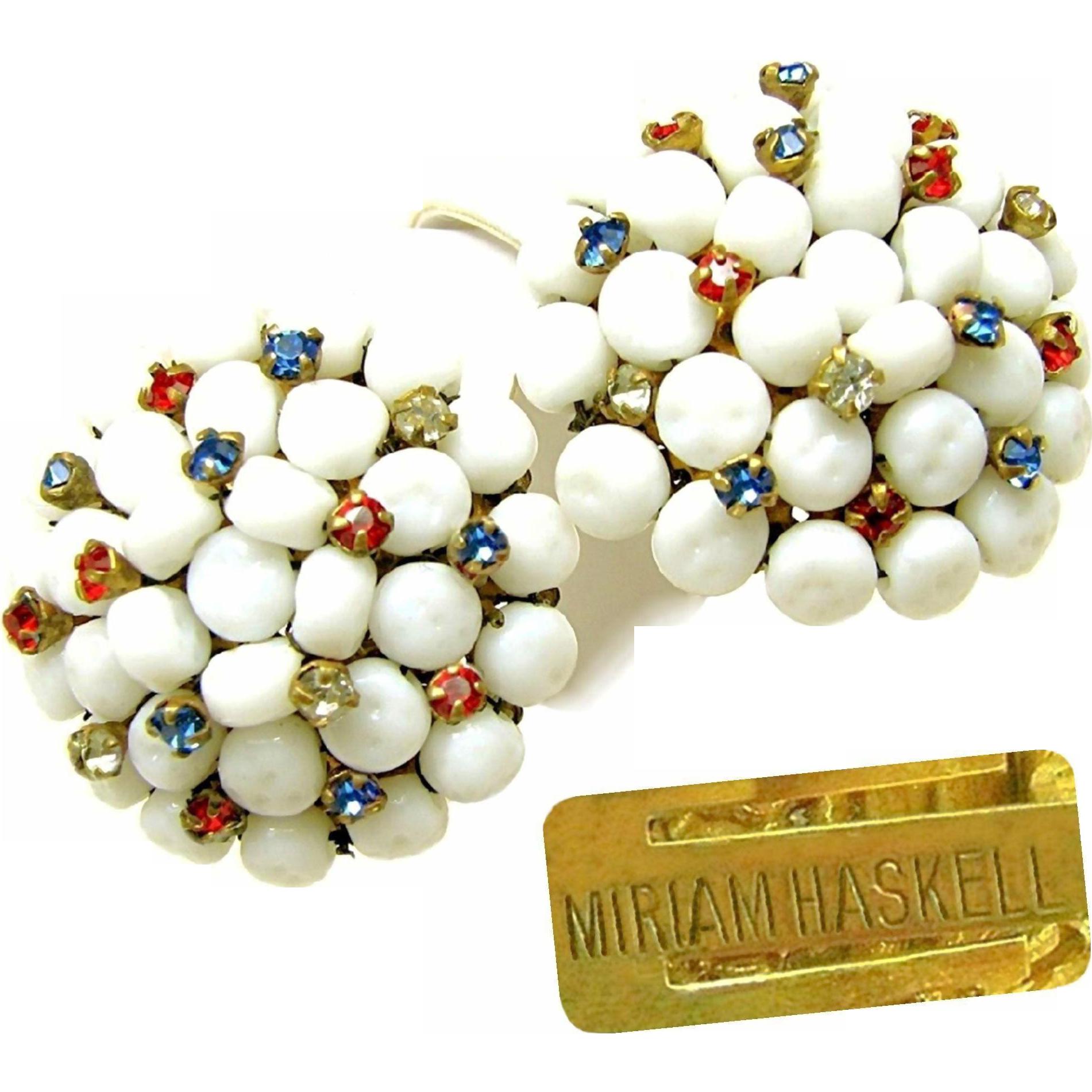 Vintage MIRIAM HASKELL PATRIOTIC Earrings of Red, White 'n Blue Rhinestones w/ Baroque Glass