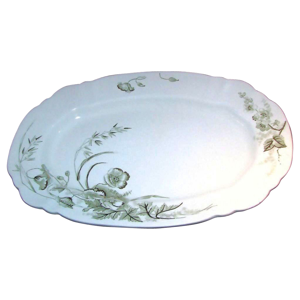 STAFFORDSHIRE TURKEY Platter w/ Soft Green Gilded Floral Design c.1891
