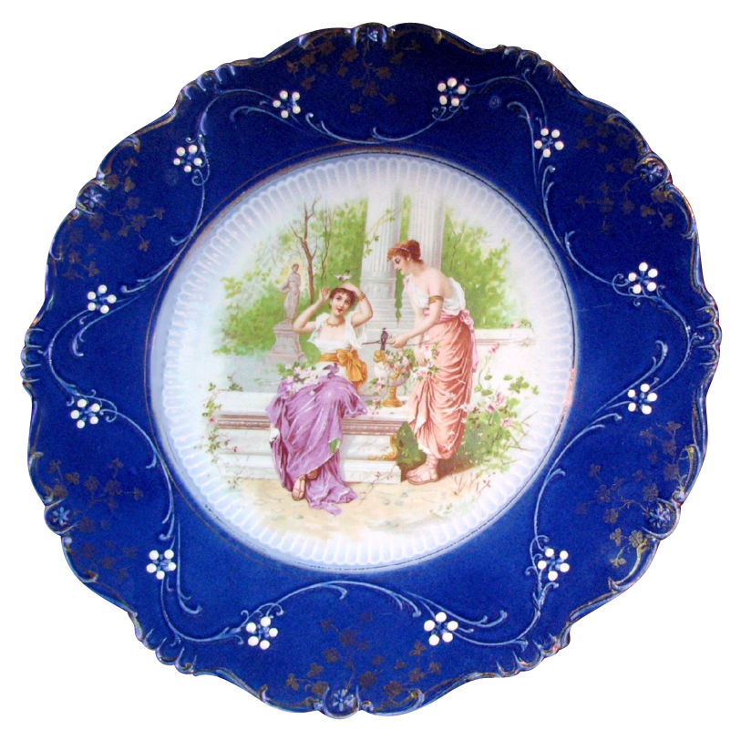 LA BELLE's FLOW BLUE Portrait Display Plate Classical Ladies Garden Scene circa 1900