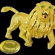 Magnificent HATTIE CARNEGIE's Roaring Lion Vintage Gilded Brooch w/ Rhinestones 'n Enamel Accenting