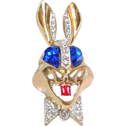 KARU's Whimsical Rhinestone Rabbit Brooch w/ Bright Blue Eyes