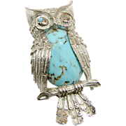 BEAU STERLING's Wise Winking Owl Brooch w/ Glass Turquoise Belly