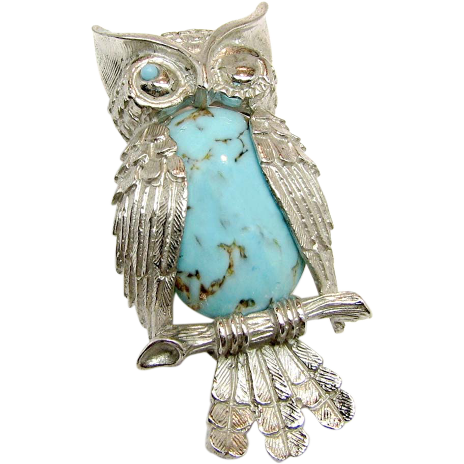 Vintage BEAU STERLING Winking Owl Brooch w/ Glass Turquoise Belly