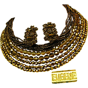 Vintage EUGENE Mid-Century Bib Necklace 'n Earrings, 13-Strands of All Glass