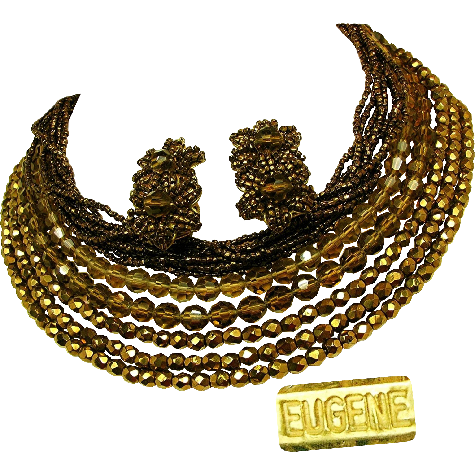 Vintage EUGENE Mid-Century Bib Necklace 'n Earrings, All Glass Set