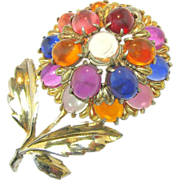 Mid - Century Large Jelly Belly Flower Brooch w/ Lucite Gumdrops c.1940's