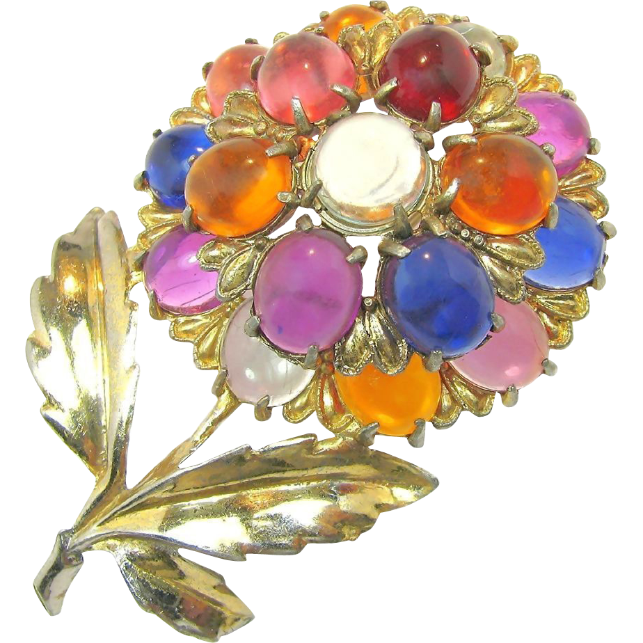 Mid - Century Large Jelly Belly Flower Brooch w/ Lucite Gumdrops