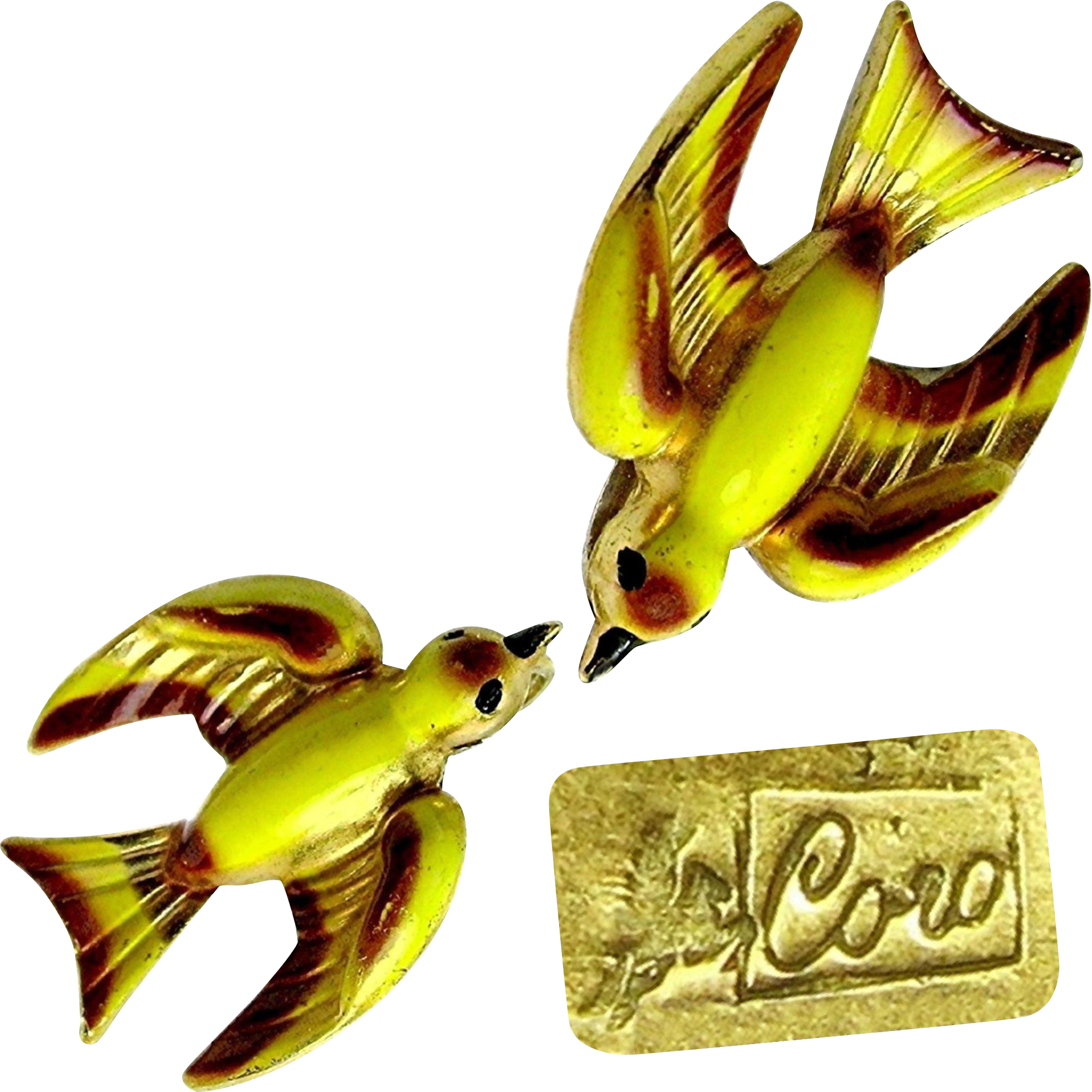 CORO w/ Pegasus Hand-painted Enamel Bird Earrings Heavenly Swallows Orig. Case c.1945