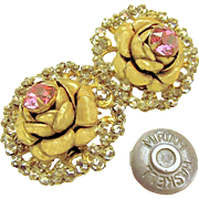 Vintage MIRIAM HASKELL ROSE Blossom Earrings w/ Pink Rhinestones Haloed by Rose Montee