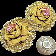 Vintage MIRIAM HASKELL ROSE Blossom Earrings w/ Pink Rhinestones Haloed by Rose Montee