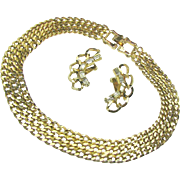 Classic REINAD Curb Chain Necklace 'n Baguette Rhinestone Climber Earrings c.1950's