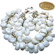 MIRIAM HASKELL's Striking Massive Shell BIB Necklace 'n Earrings