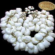 MIRIAM HASKELL's Striking Massive Shell BIB Necklace 'n Earrings