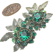 Green Rhinestone Large DeMARIO 'n Silver Gilt EARRINGS c.1950's