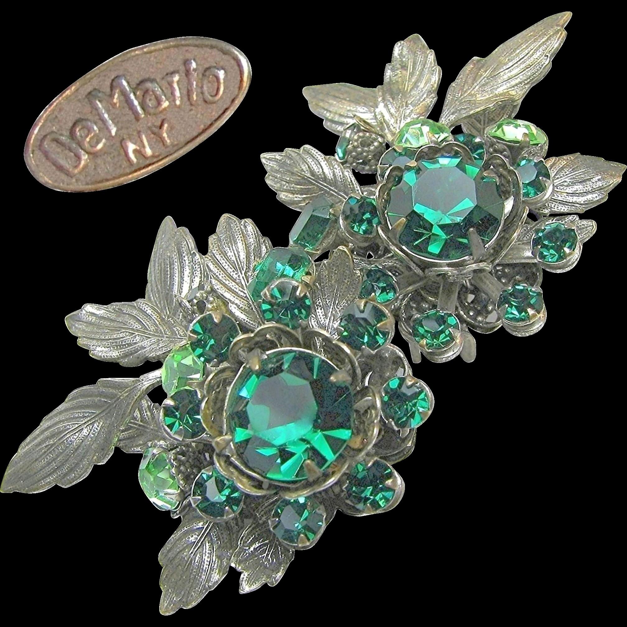 Green Rhinestone Large DeMARIO 'n Silver Gilt EARRINGS c.1950's
