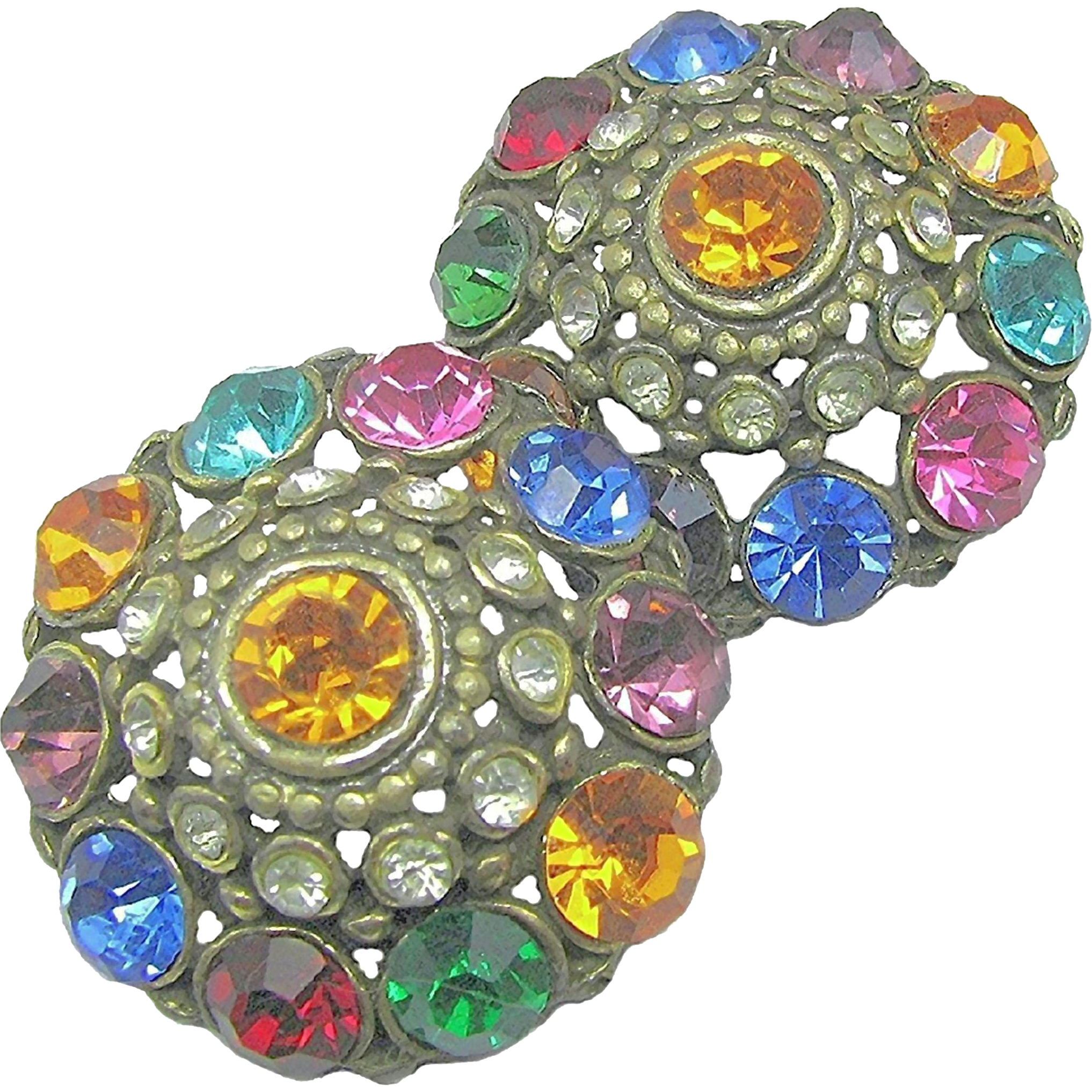 Flashy Art Deco Jewel-Tone Rhinestone Earrings w/ Patent 1967965 Clips c.1934