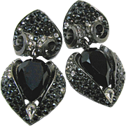 Striking JAY STRONGWATER Classic Pendant Earrings of Black w/ Clear White Rhinestones