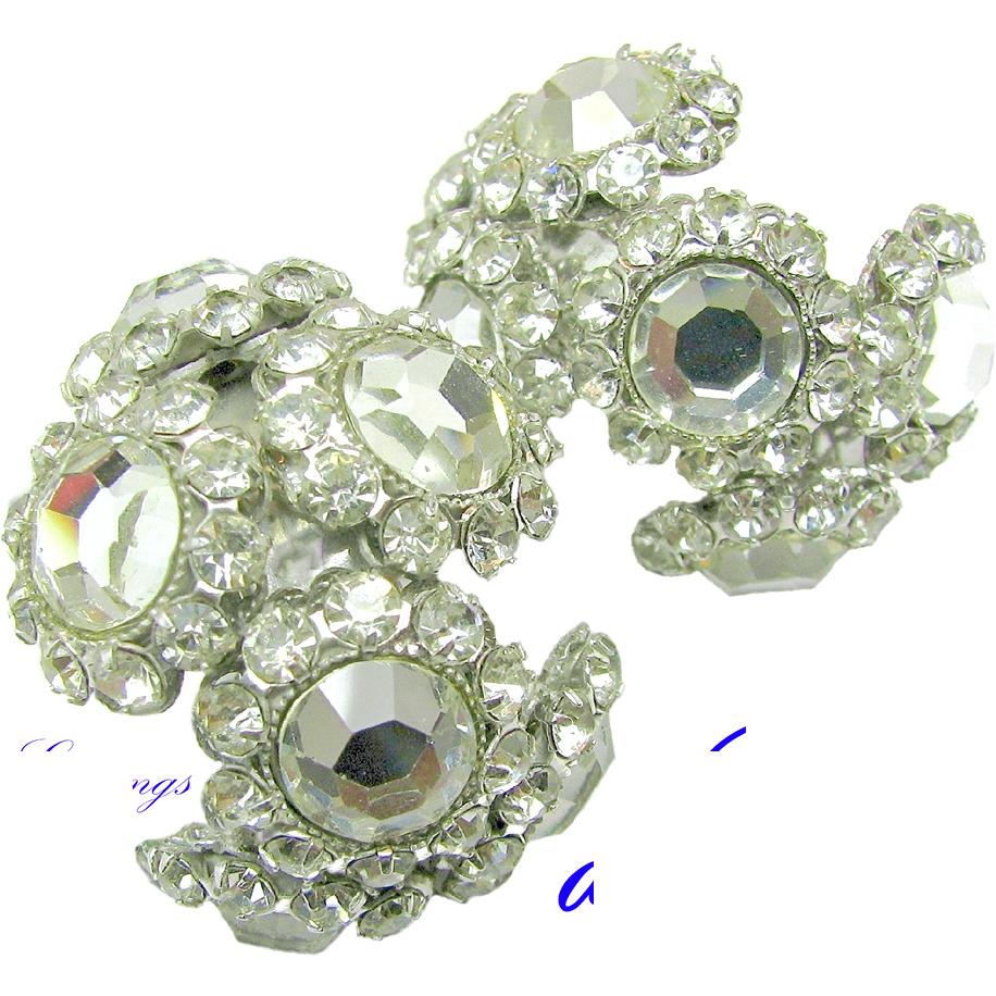 Dazzling DeLillo Large Hoop Earrings w/ Clear White Rhinestones