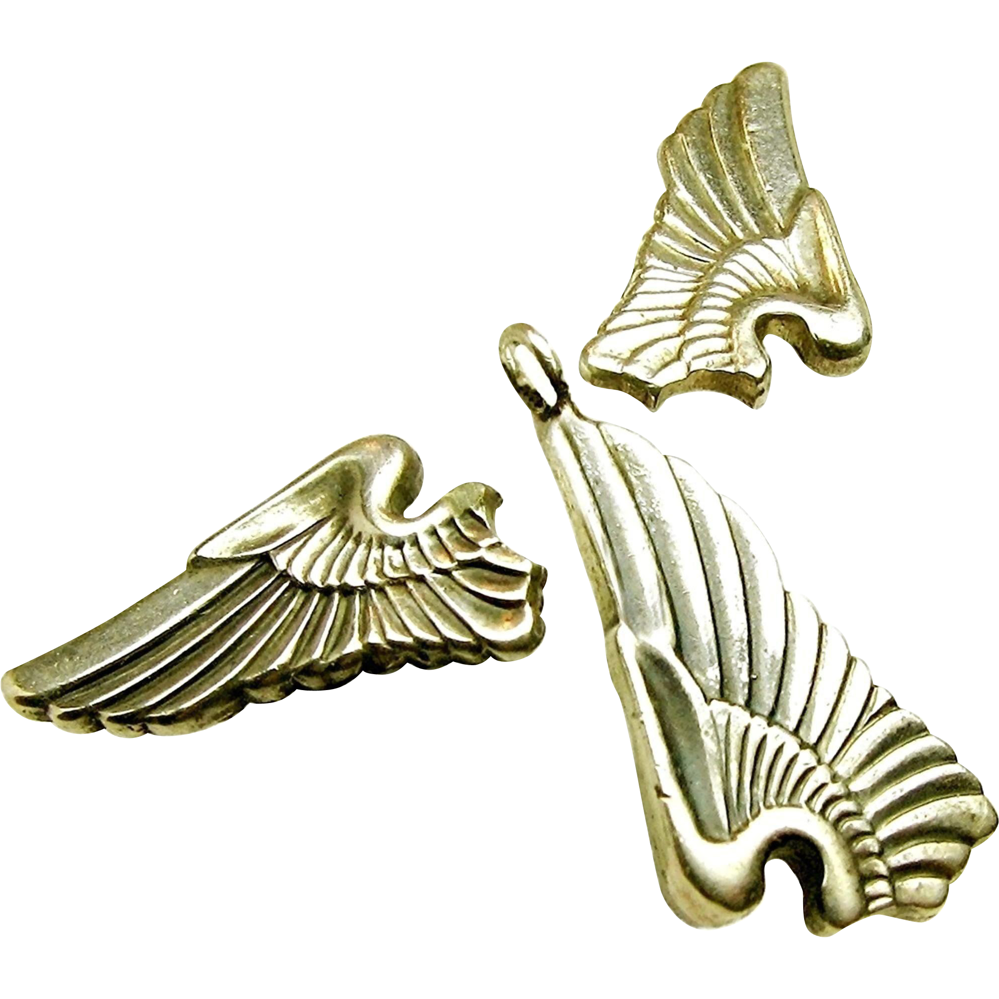 WWII SWEETHEART Sterling Earrings, Pendant 'n Chain of Army Air Corp Pilot Wing c.1940's
